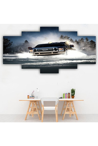 Dekorme 5 Parçalı Araba Kanvas Tablo 110 x 60 cm