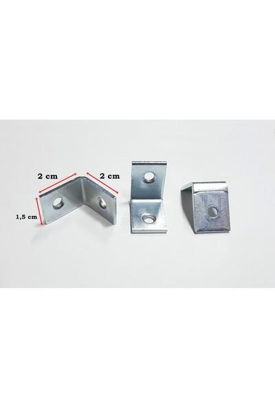 Şahin Köşe Birleştirme Demiri Dolap Bağlantı L Demiri Köşebent 10 Adet (1,5 cm x 2 cm x 2 Cm)
