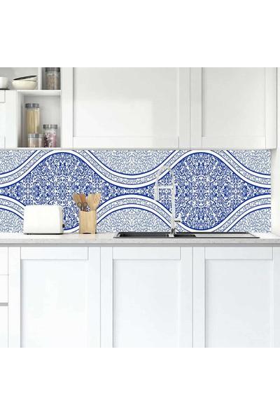 Jasmin2020 Mutfak Tezgah Arası Folyo Kaplama Mavi Desen