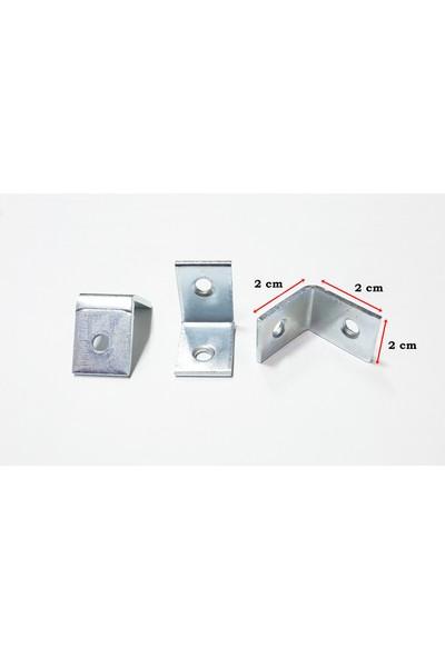 Şahin Köşe Birleştirme Demiri Dolap Bağlantı L Demiri Köşebent 10 Adet ( 2cm x 2cm x 2cm)
