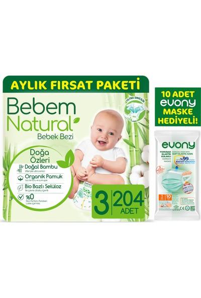 Bebem Natural Bebek Bezi 3 Beden Midi Aylık Fırsat Paketi 204 Adet + Evony Maske 10'lu Hediyeli