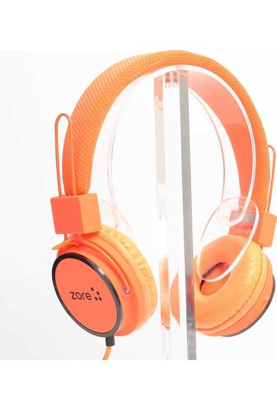 Zore Kulak Üstü Kablolu Mikrofonlu Kulaklık 3.5 mm Jack Giriş Turuncu