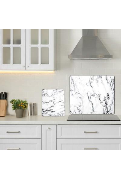 Decorita Beyaz Mermer Görünümlü Cam Kesme Tablası 2'li Takım 52 x 60 cm