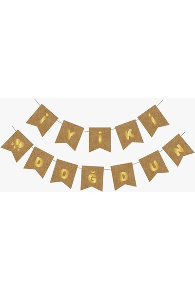 Renkli Partici Kraft Gold Yaldızlı Banner