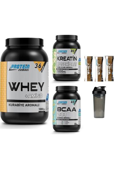 Protein Zamanı Whey Protein Tozu Kurabiye 1080 gr Bcaa 480 gr Kreatin 480 gr Kombinasyonu