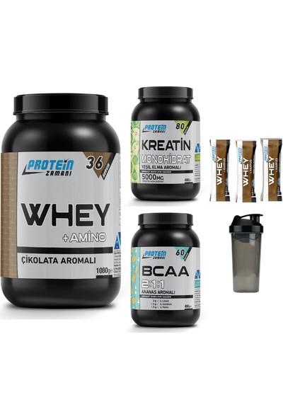 Protein Zamanı Whey Protein Tozu 1080 gr Çikolata Bcaa 480 gr Kreatin 480 gr Kombinasyonu