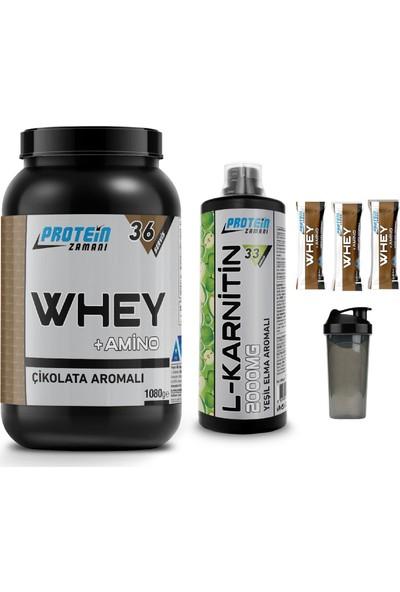 Protein Zamanı Whey Protein Tozu 1080 gr Çikolata Lkarnitin 1000 ml Kombinasyonu