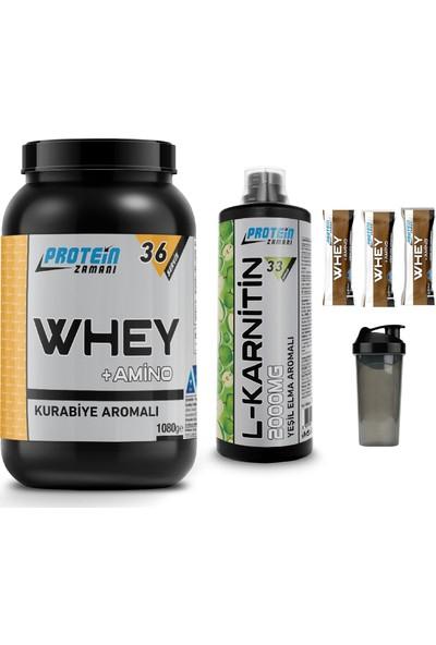 Protein Zamanı Whey Protein Tozu 1080 gr Kurabiye Lkarnitin 1000 ml Kombinasyonu