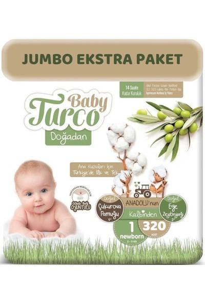 Baby Turco Bebek Bezi Natural Jumbo Ekstra Paket Beden: 1 (2 - 5 Kg) Yenidoğan 320'LI