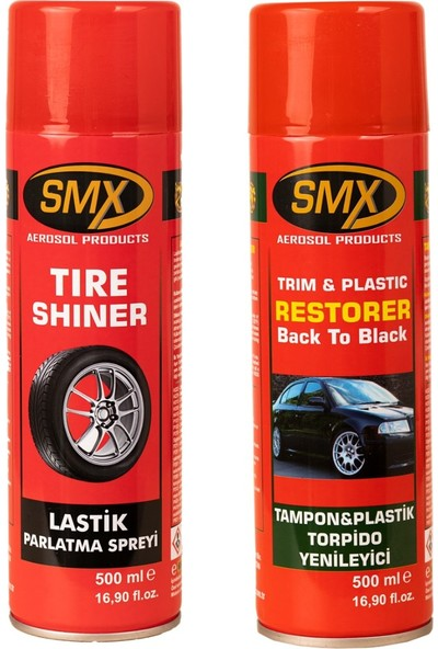 Smx Tampon Plastik Torpido Yenileyici Sprey ve Lastik Parlatıcı Sprey 500 ml