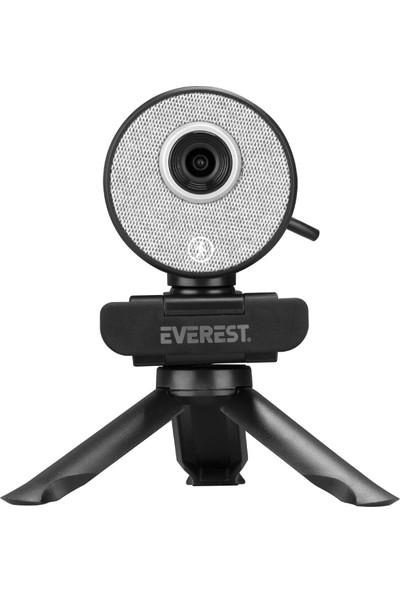 Everest SC-HD09 1080P Full Hd Auto Tracking Harekete Duyarlı Tripod ve Mikrofonlu Siyah Webcam USB Pc Kamera