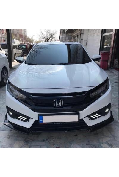 Honda Civic Fc5 Fk7 3 Parça Ön Lip Piano Black Abs Plastik Malzeme