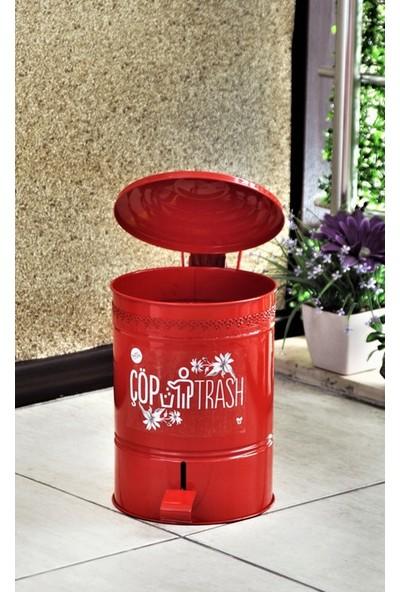 Yıldıray Metal Çöp Kovası Pedallı 5lt Kırmızı