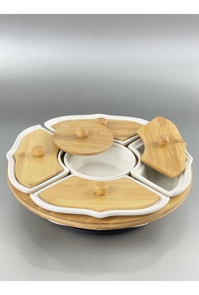 Acar Bambu Porselen Raylı Dönerli Sistem 5 Bölmeli Kahvaltılık