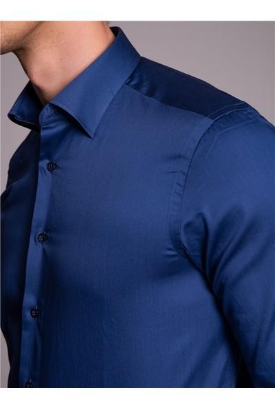 Dufy Düz Pamuklu Erkek Gömlek - Slim Fit Indigo