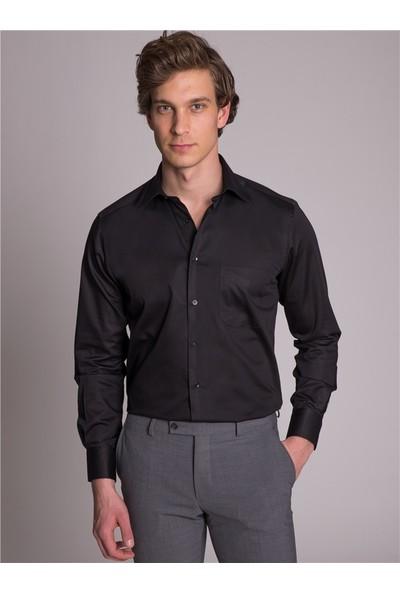 Dufy Klasik Pamuklu Erkek Gömlek - Regular Fit Siyah