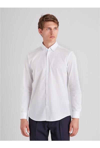 Dufy Nokta Desen Erkek Gömlek - Slım Fit Beyaz