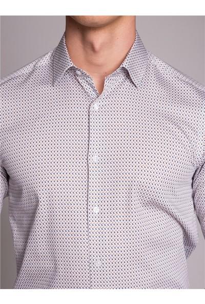 Dufy Desenli Klasik Erkek Gömlek Beyaz