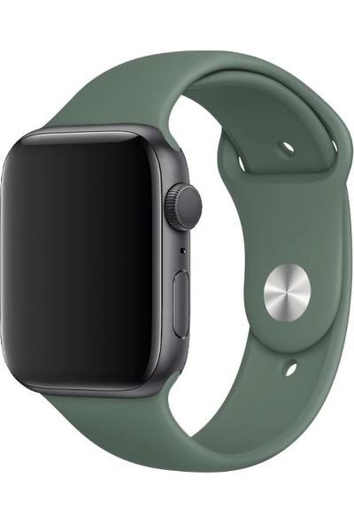Kesaksesuar Apple Watch 1.2.3.4.5.6 Nesil Uyumlu 42 / 44 mm Uyumlu Spor Silikon Kordon Haki Yeşil