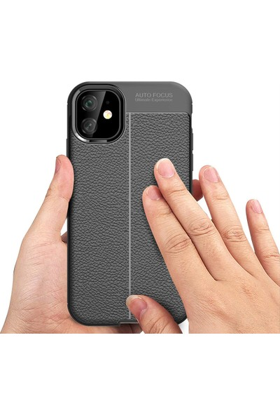 Case Markt Apple Apple iPhone 11 Elegance Deri Dokulu Ultra Ince Silikon Telefon Kılıfı