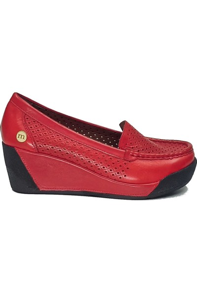 Mammamia 3315 Deri Dolgu Topuk Yazlık Kadın Ayakkabı