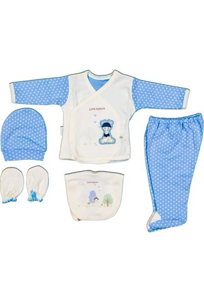AlpCollection Mavi Zürafa 5 Parça Yenidoğan Bebek Pamuklu Hastane Çıkışı Set