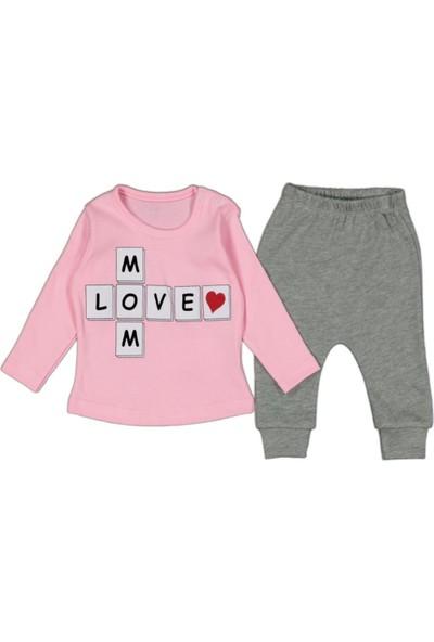 AlpCollection Pembe Mom Love 3-12 Ay Kız Bebek 2li Pamuklu Alt Üst Takım 3-6 Ay