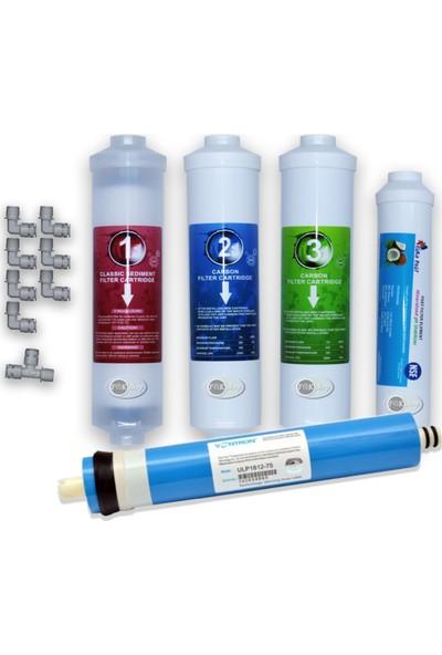 Ihlas Aura Cebilon Plus ve Tüm Kapalı Kasa Inline Su Arıtma Cihazları Için 5'li Filtre Seti - Nsf'li Mebran ve Tatlandırıcı Filtre