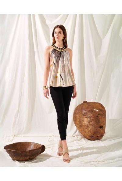 Miarte Safran Su Desenli Paralı Kolsuz Bluz