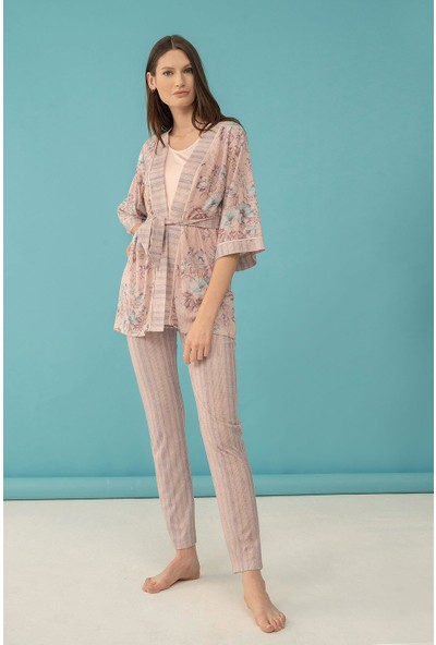 Feyza 4037 Kadın 3'lü Sıfır Kollu Pijama Takımı