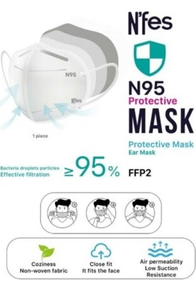 Nefes N95 5 Katlı Ffp2 Maske Tek Tek Paketli