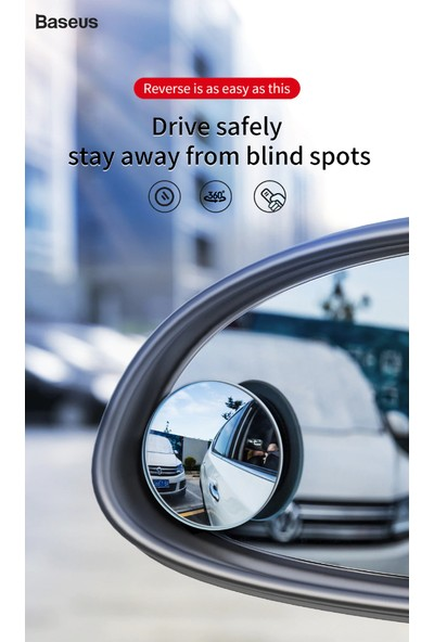 Baseus Full-Vision 2 Adet Mini Geri Görüş Aynası,Kör Nokta Aynası