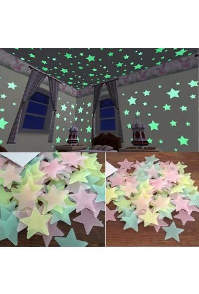 Özsat 100 Adet Fosforlu Karışık Yıldız Duvar Tavan Çocuk Odası Dekor Ay