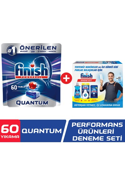 Finish Quantum 60 Tablet Bulaşık Makinesi Deterjanı + Finish Performans Ürünleri Seti