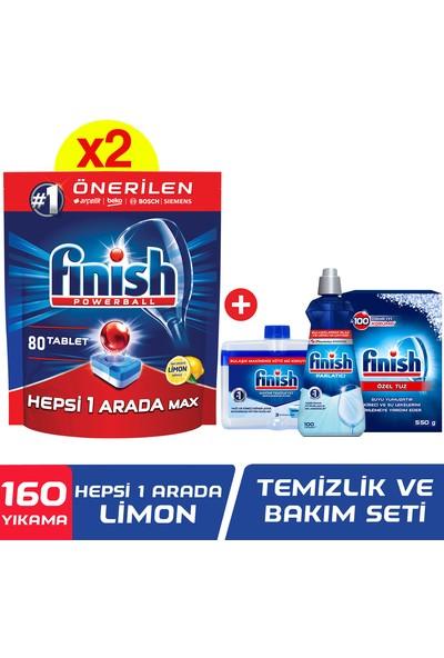 Finish Hepsi Bir Arada 160 Tablet Bulaşık Makinesi Deterjanı Limon (80x2) + Temizlik ve Bakım Seti