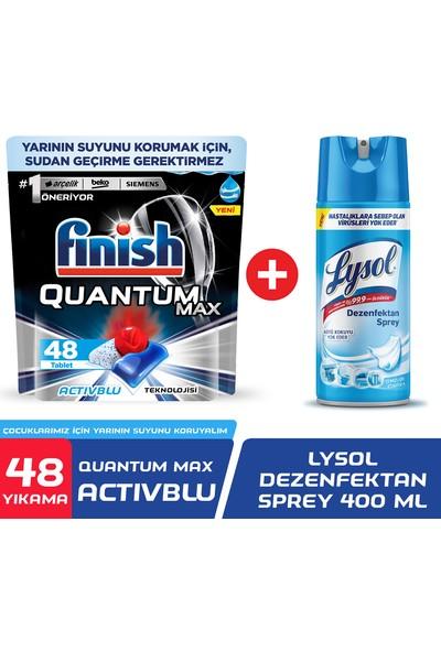 Finish Quantum Max 48 Kapsül + Lysol Dezenfektan Sprey Temizliğin Esintisi Yüzeyler Için 400 ml