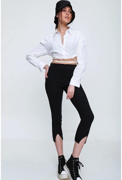 Pinkpark Kadın Siyah Önü Yırtmaçlı Tayt Pantolon SF00013