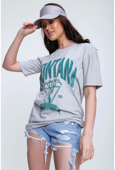 Pinkpark Kadın Mavi Bisiklet Yaka Baskılı T-Shirt CT00001