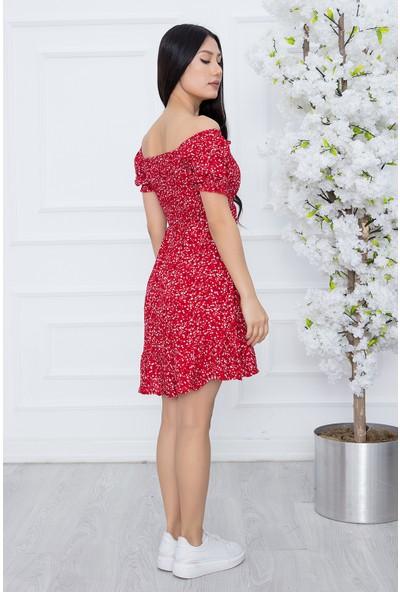 Kalopya Kadın Göğsü Gipeli Çiçekli Viskon Elbise SHN12