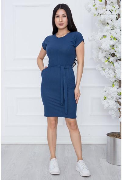 Kalopya Kadın Kuşaklı Kaşkorse Elbise 1086