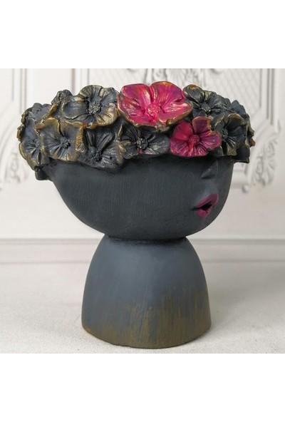 Nettenevime Beton Saksı Dekoratif Gri Çiçek Taclı Kadın Vazo Skulent Saksısı 15X14CM