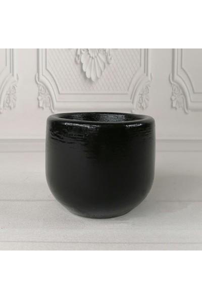 Nettenevime Beton Saksı Dekoratif Siyah Vazo Skulent Saksısı 10X9CM