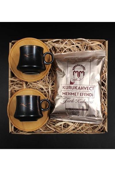 Vegagiftshop Bambulu Mermer Desenli Porselen Fincan Seti & Türk Kahvesi