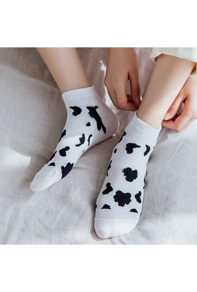 Çorapmanya Kadın 5 Çift Siyah + Beyaz Inek Desenli Nakışlı Patik Çorap