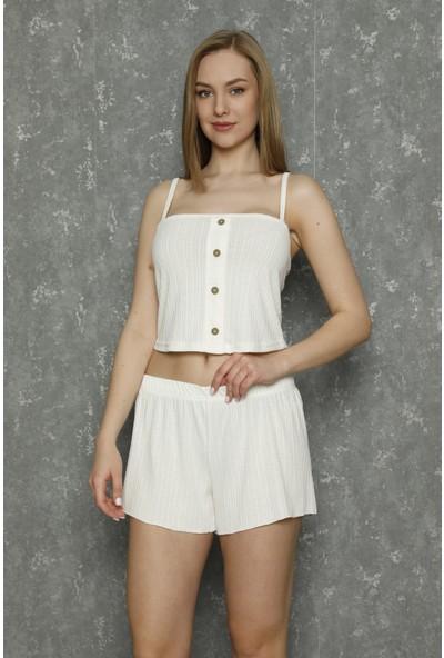 Raspberry Askılı Düğme Detaylı Straplez Pijama Takımı