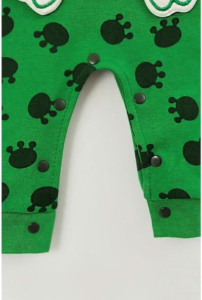 Mini Kalpler Kurbağa Tasarımlı Baskılı Düdüklü Unisex Bebek 2'li Tulum (Yeşil) - Takım - 9 Ay