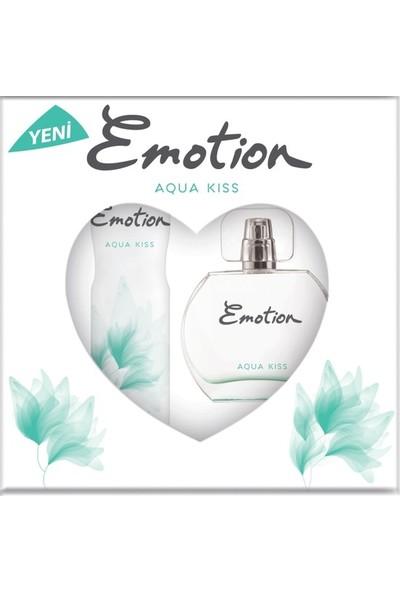 Emotion Aqua Kiss Kadın Parfüm Seti Edt 50ML + 150ML Deodorant + Pur Blanca Rollon + Göz Kalemi