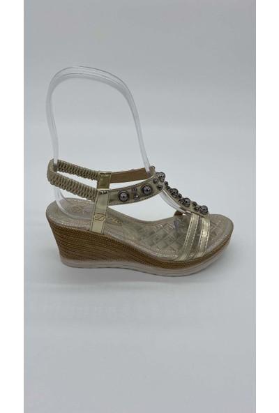 De Scarıo Dolgu 011 Taslı Gold Sandalet
