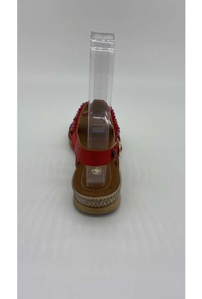 De Scarıo Düz Taslı 048 Kırmızı Sandalet