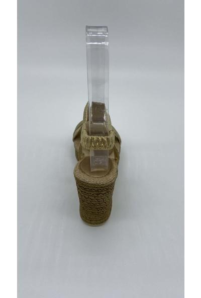 De Scarıo Dolgu 003 Gold Sandalet